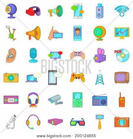 Electronic device icons set. Cartoon style of 36 electronic device vector icons for web isolated on white background