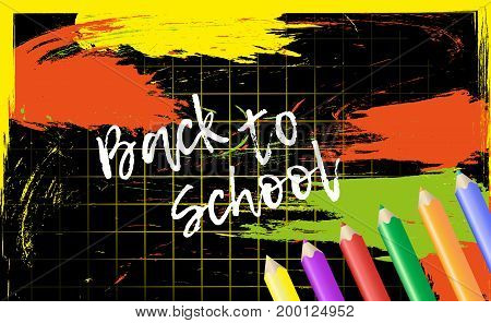Design template Back to School for banner or poster. Abstract colorful background with cell and pencil. Vector Illustration.