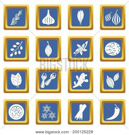 Spice icons set in blue color isolated vector illustration for web and any design