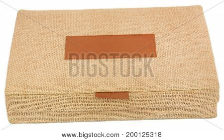 Jute made ornament box over white background