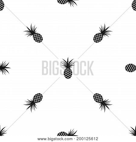 Pineapple pattern repeat seamless in black color for any design. Vector geometric illustration