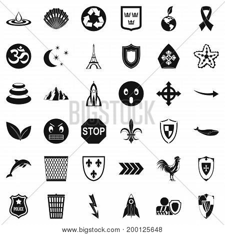 Warning emblem icons set. Simple style of 36 warning emblem vector icons for web isolated on white background