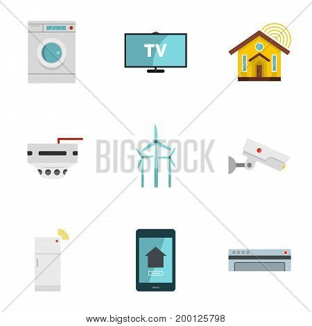 Smart home system icon set. Flat style set of 9 smart home system vector icons for web isolated on white background