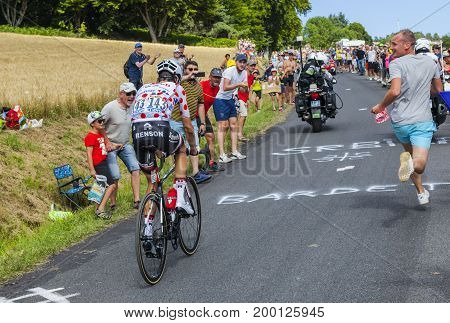 Col de Peyra Taillade France - July 162017: The French cyclist Warren Barguil of Team Sunweb in Polka Dot Jerseyclimbing the last kilometer to Col de Peyra Taillade in the Central Massif during the stage 15 of Le Tour de France 2017.