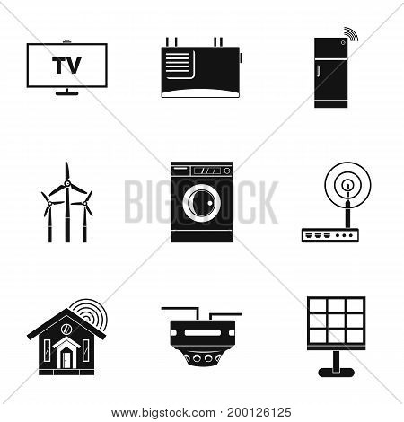 Smart home devices icon set. Simple style set of 9 smart home devices vector icons for web isolated on white background