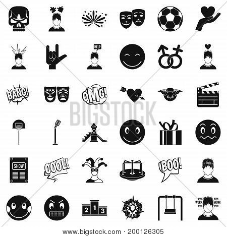 Good emotion icons set. Simple style of 36 good emotion vector icons for web isolated on white background