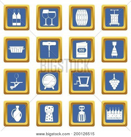 Wine icons set in blue color isolated vector illustration for web and any design