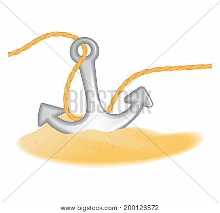 Anchor with rope in the sand isolated on white. EPS10 vector