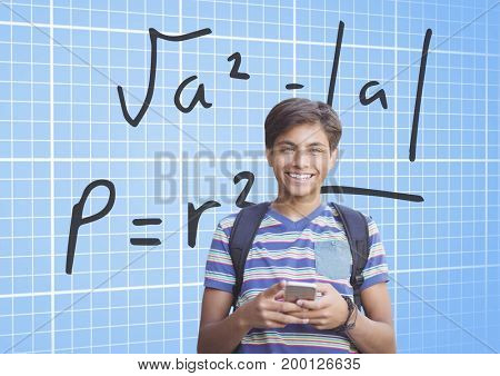 Digital composite of Student with tablet and formula