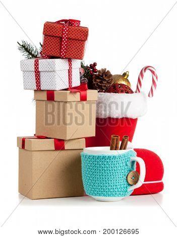 Santa's shoe on white background