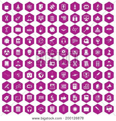 100 researcher science icons set in violet hexagon isolated vector illustration