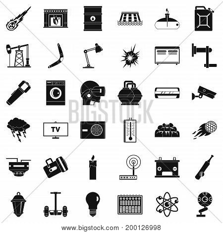 Save energy icons set. Simple style of 36 save energy vector icons for web isolated on white background