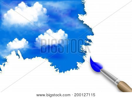 Brush Feather clouds in the sky, vector art illustration.
