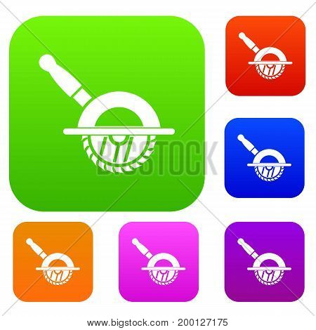 Circular saw set icon in different colors isolated vector illustration. Premium collection
