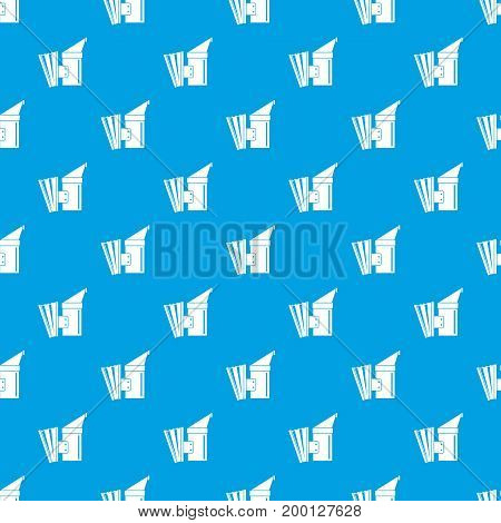 Fumigation pattern repeat seamless in blue color for any design. Vector geometric illustration
