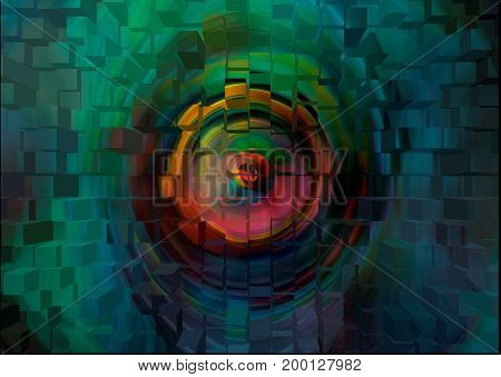 Abstraction. The seeing wall. The painting in an abstract form shows an eye on the wall.