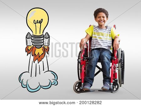 Digital composite of Disabled boy in wheelchair with colorful light bulb rocket