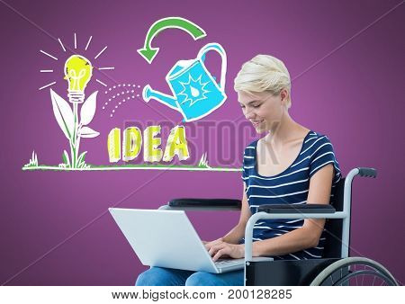 Digital composite of Disabled womanj in wheelchair with colorful idea graphics