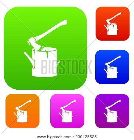 Axe stuck in a tree stump set icon in different colors isolated vector illustration. Premium collection