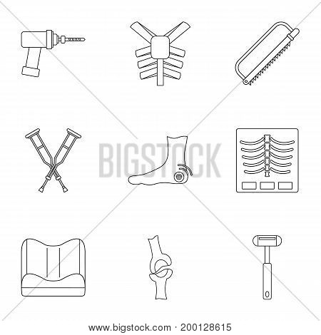 Orthopedic surgery icon set. Outline style set of 9 orthopedic surgery vector icons for web isolated on white background