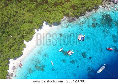 White Sandy Honeymoon Beach at Similan Island Aerial View From Above. Andaman Sea, Thailand. Travel, summer, vacation and tropical beach concept.