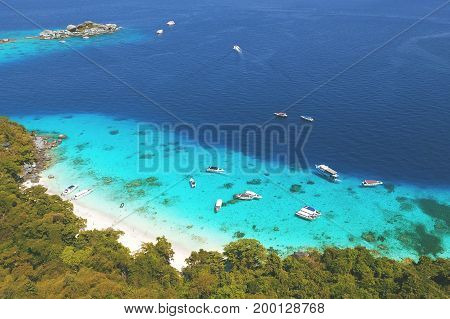 Amazing Honeymoon Beach at Similan Island Aerial View From Above. Andaman Sea, Thailand. Travel, summer, vacation and tropical beach concept.