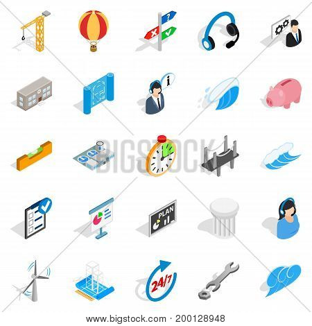Streetlight icons set. Isometric set of 25 streetlight vector icons for web isolated on white background