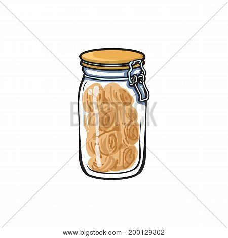 vector glass jar with swing top lid sketch cartoon isolated illustration on a white background. Kitchenware equipment utensil objects concept
