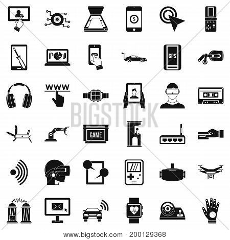 Internet adjustment icons set. Simple style of 36 internet adjustment vector icons for web isolated on white background