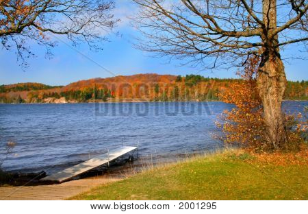 Scenic Lake During Autumn Time