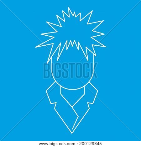 Singer icon blue outline style isolated vector illustration. Thin line sign