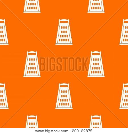 Kitchen grater pattern repeat seamless in orange color for any design. Vector geometric illustration