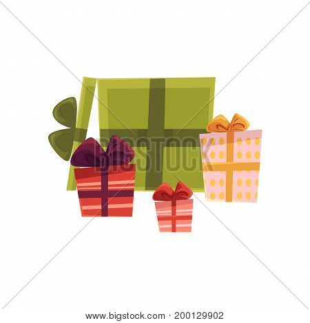 vector holiday present gift boxes, packaging pile. Flat cartoon isolated illustration on a white background. Christmas, new year birthday gift concept