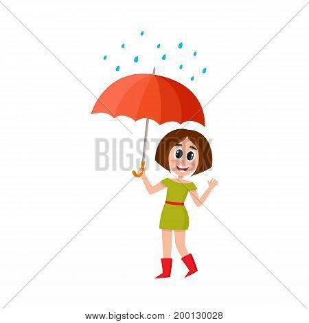 vector young woman walks in the rain happily keeping umbrella in hand. Flat cartoon isolated illustration on a white background