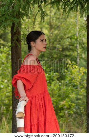 A Girl In A Red Dress Is Standing On A Wooden Bridge In The Forest