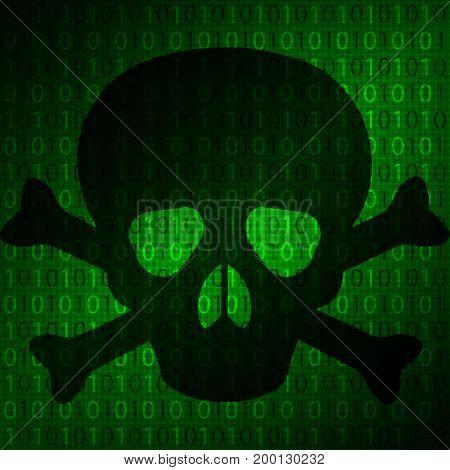 The skull on the background matrix, vector art illustration of a computer virus.