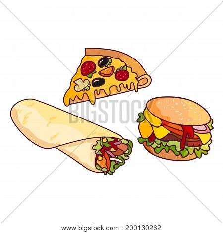 Vector sandwich burger, pizza slice doner kebab, shawarma set. Fast food flat cartoon isolated illustration on a white background. Tasty food with fresh vegetables