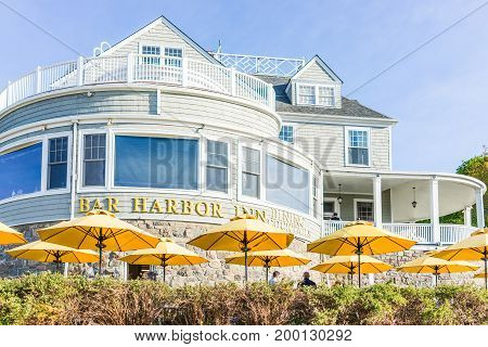 Bar Harbor USA - June 8 2017: Oceanfront resort inn with waterfront restaurant in downtown village in summer