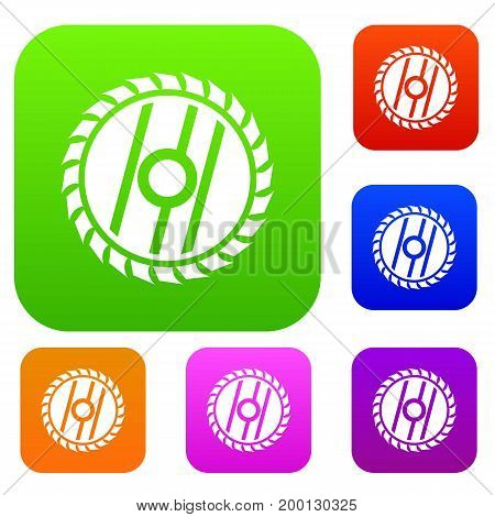 Circular saw blade set icon in different colors isolated vector illustration. Premium collection