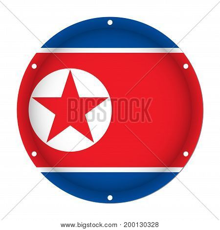 round metallic flag of North Korea with six screw holes in front of a white background