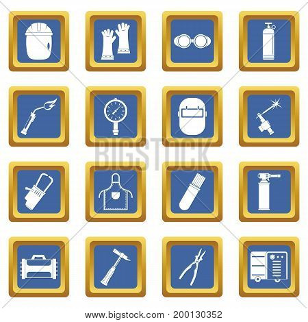 Welding icons set in blue color isolated vector illustration for web and any design
