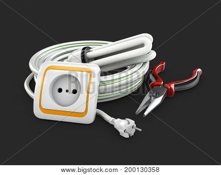 Electric Components, Electrical Cable, Socket And Pliers. 3D Illustration Isolated Black