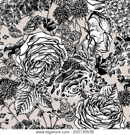 Vector monochrome vintage floral seamless pattern with blooming roses, geraniums, blackberry, meadow flowers, Natural floral illustration on white background.