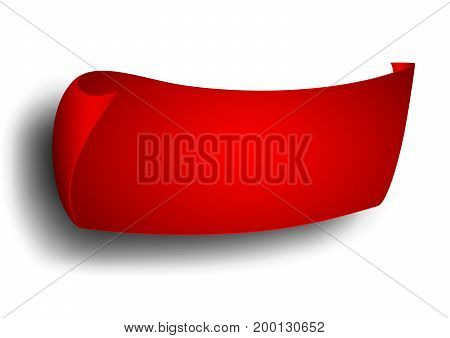 Red ribbon banner advertisingon on white background vector illustration