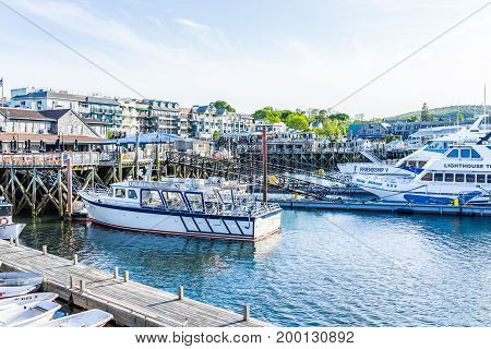 Bar Harbor USA - June 8 2017: View of dock and empty boats in downtown village in summer