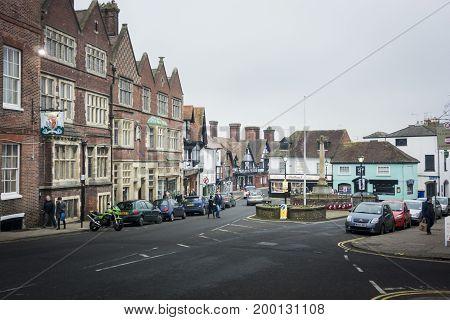 ARUNDEL, WEST SUSSEX, UK, 17 NOVEMBER 2013 - The High Street in Arundel West Sussex UK