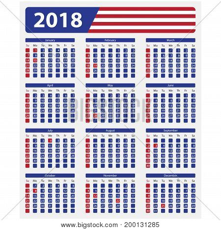 USA calendar 2018 - official holidays and non-working days week starts on sunday