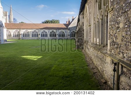 External view of the cloisters at Chichester cathedral West Sussex UK