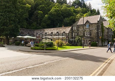 Betws y Coed Wales UK - August 15 2017: The Royal Oak Hotel in Betws y Coed Wales a former Victorian coaching inn now a restaurant and provides accomodation to visitors and tourists