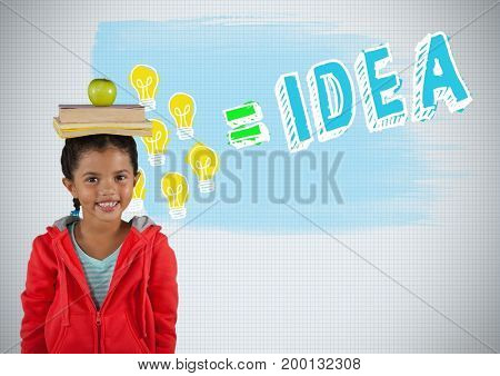 Digital composite of Girl balancing books on head with colorful idea graphics